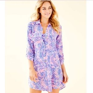 Lilly Pulitzer Natalie Burnout Cover-Up Shirtdress